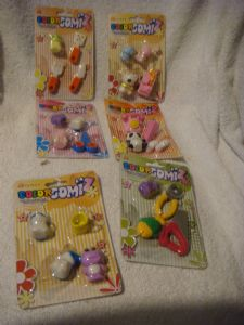 Color Gomiz novelty erasers carded packs  assorted.